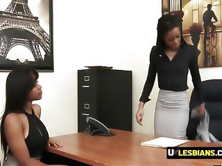 Hot lesbians play around with sybian until they cum hard