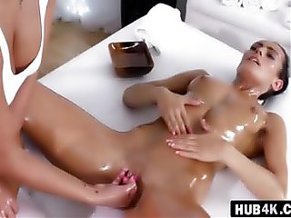 Lovely lesbians steamy massage session