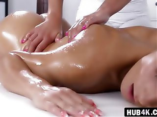 Lesbian oil massage and hot fingering