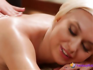 Two Blondes Scissoring After a Massage
