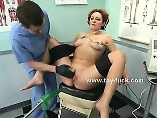 Amazing hot busty slut with perky nipples screaming of pleasure masturbating with fucking machine