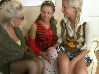 Mrs. Hudson pets springy tits of teen coeds Natasha and Karina.